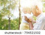 portrait of happy grandfather... | Shutterstock . vector #754521532