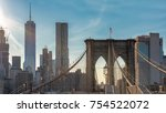 manhattan skyline with brooklyn ... | Shutterstock . vector #754522072