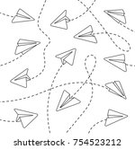 paper airplanes. paper... | Shutterstock .eps vector #754523212