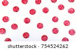 background of salami slices.... | Shutterstock . vector #754524262