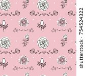 elegance seamless pattern with...   Shutterstock .eps vector #754524322