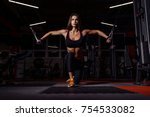 athlete girl in sportswear... | Shutterstock . vector #754533082