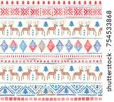 seamless watercolor ethnic... | Shutterstock . vector #754533868