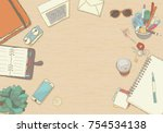 illustrated workplace... | Shutterstock .eps vector #754534138