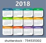 calendar 2018 year vector... | Shutterstock .eps vector #754535302