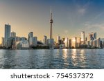 toronto skyline at sunset  ... | Shutterstock . vector #754537372