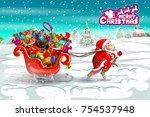 santa claus with sledge full of ... | Shutterstock .eps vector #754537948