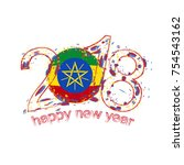2018 happy new year ethiopia... | Shutterstock .eps vector #754543162