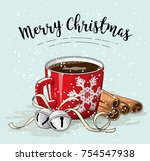 red cup of coffee with cinnamon ... | Shutterstock .eps vector #754547938