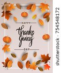 happy thanksgiving typography... | Shutterstock .eps vector #754548172