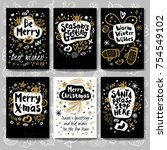 merry christmas happy new set... | Shutterstock .eps vector #754549102