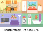 house rooms interior set vector ... | Shutterstock .eps vector #754551676