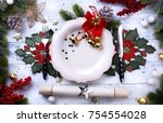 christmas holiday dinner... | Shutterstock . vector #754554028