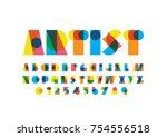 vector of modern stylized font... | Shutterstock .eps vector #754556518