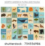 north america flora and fauna... | Shutterstock .eps vector #754556986