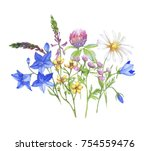 watercolor banner with... | Shutterstock . vector #754559476