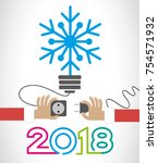 creative happy 2018 new year... | Shutterstock .eps vector #754571932