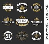 christmas sale badges  labels... | Shutterstock .eps vector #754580932