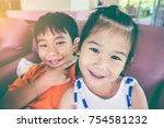 lovely asian children relaxing... | Shutterstock . vector #754581232