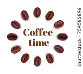 realistic coffee beans placed... | Shutterstock .eps vector #754583896