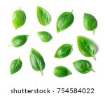 Green Basil Leaves Isolated On...