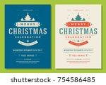 christmas party invitation... | Shutterstock .eps vector #754586485