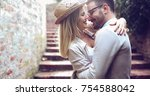 happy couple in love smiling... | Shutterstock . vector #754588042
