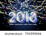 2018 merry christmas and happy... | Shutterstock . vector #754590046