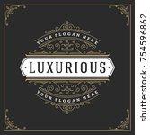ornament monogram logo design... | Shutterstock .eps vector #754596862