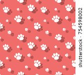 animal paw print pattern... | Shutterstock .eps vector #754598002