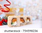 Holidays Food. Christmas Sushi...