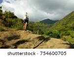 tourist no the trail for the... | Shutterstock . vector #754600705