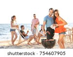 young people having barbecue... | Shutterstock . vector #754607905