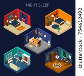night sleep set of isometric... | Shutterstock .eps vector #754612492