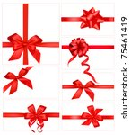 big set of red gift bows with... | Shutterstock .eps vector #75461419