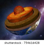 earth cross section in the... | Shutterstock . vector #754616428