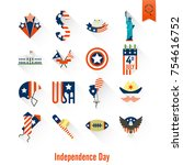 4th of july  independence day... | Shutterstock .eps vector #754616752