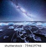 iceland  jokulsarlon lagoon ... | Shutterstock . vector #754619746