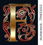 capital letter f. large letter. ... | Shutterstock .eps vector #754621012