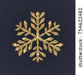 gold snowflake on dark... | Shutterstock .eps vector #754622482
