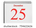 december 25 in the calendar on... | Shutterstock . vector #754622626