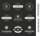 luxury logos templates set ... | Shutterstock .eps vector #754623262