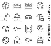 thin line icon set   dollar ... | Shutterstock .eps vector #754625782
