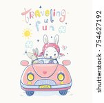 cute bunny and mouse traveling... | Shutterstock .eps vector #754627192