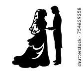 bride and groom wedding black... | Shutterstock .eps vector #754629358