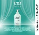3d realistic cosmetic bottle... | Shutterstock .eps vector #754639825
