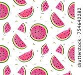 watermelon slices vector...   Shutterstock .eps vector #754642282
