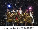 new 2018 year is coming  group... | Shutterstock . vector #754643428