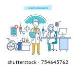 health insurance concept. life... | Shutterstock .eps vector #754645762