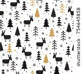 seamless pattern with deer and... | Shutterstock .eps vector #754645858